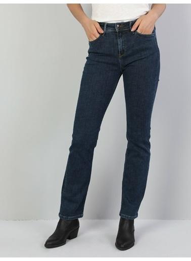 Colin's 792 Mıla Orta Bel Düz Paça Regular Fit Mavi Kadın Jean Pantolon İndigo